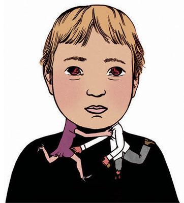 Die Illustration zeigt ein Sorgenkind - seine Eltern streiten. Illustration zum Thema Scheidung.