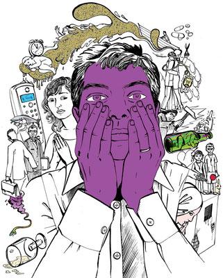 Stern Gesund Leben behandelte die Thematik Sucht und Scham, durch diese Zeichnung illustriert.