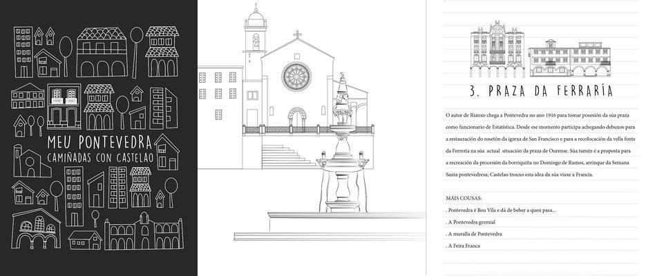 """Ilustración e reseño editorial """"Camiñadas con Castelao"""". Normalización Lingüistica e Deputación de Pontevedra"""