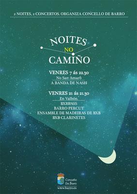 """Cartel para o ciclo de concertos """"Noites no Camiño"""" Concello de Barro"""