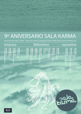 "Cartel para o ""9º anivesario Sala Karma"""