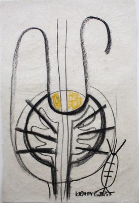 KRAFT GEIST, zu: EGO-Raum+Wandlung I, 1997, Kohle, Kreide auf handgeschöpftem Papier