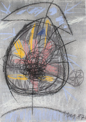 Monika Maria Nowak bei EIGEN+ART, 1987, Innerer Kern, Zeichnung: Tusche, Kreide, Bronce
