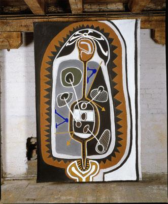 PROJEKTIONEN, 1993, zu: Der Geist des Todes zeugt und tötet, 1994, Asche, Russ, Kalk auf Leinen, 160x1998cm