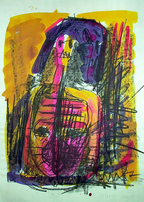 Im Bauch, Litho coloriert, Achatpapier, Eigen+Art, 1988