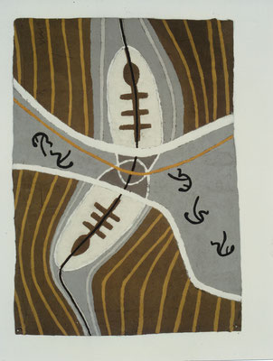 HELFER WEG, 1991, Asche, Russ, Kalk auf Gaze/Pappe