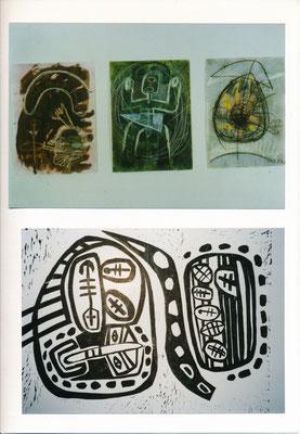 Monika Maria Nowak bei EIGEN+ART, 1988, Zeichnungen Tusche, Kreide, Bronce auf Bütten; unten: Jahresdruck Linolschnitt auf Japanpapier