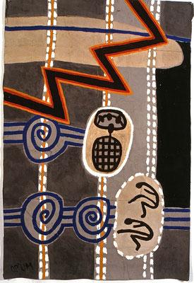 HELFER WEG- HELFER FÜR DIE MÄCHTIGEN I, 1990, 100x132 cm, Asche, Russ, Kalk, Pigment auf Pappe/Gaze