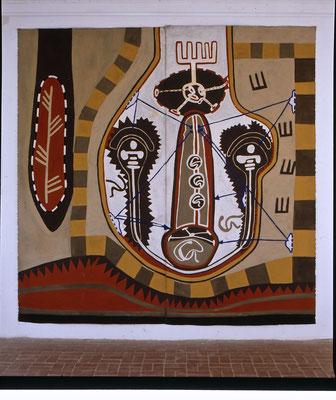 """""""TRENNUNG VON WEIBLICHEM GRUND"""", 1997, zu: """"EGO-RAUM+WANDLUNG I"""", Asche, Russ, Erde, Kalk, Pigment auf Leinen, 320x 200cm"""