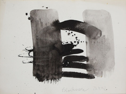 o.T., Tuschezeichnung, 1992, Aquarellkarton