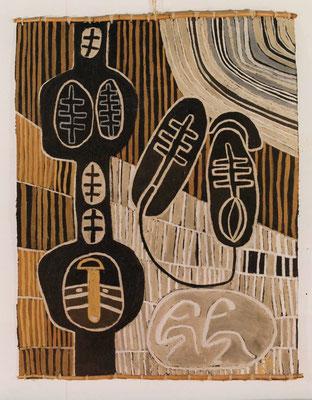 """HELFER-WEG"", 1990, Asche, Russ, Kalk, Pigment auf Pappe, 150x200cm"