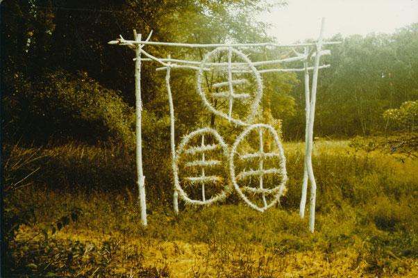 Aktion bei Dolgelin (Seelower Höhen), 1989, Objekt Holz, Stroh, Kalk