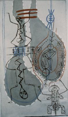 WEG MEDITATION, 1996, Asche, Russ, Kalk, Erde auf Leinen