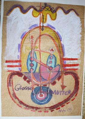 """""""Zu: HELFER WEG IIIIIII-MUT MACHT WEISHEIT-der Weg zur Versöhnung"""", 2003, Acryl, Fettkreide auf Ölpapier"""