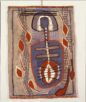 HELFER FÜR MU I, 1990, 100x140 cm, Asche, Russ, Kalk, Pigment, Pappe/Gaze