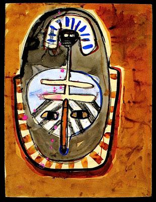 """""""Selbst"""", 1986, Fettkreide, farbige Tusche auf Achatpapier"""