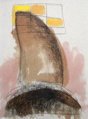 zu:Der Geist des Todes zeugt und tötet, Russ, Asche, Kohle, Tusche auf Buchbinderleinen, 60x70 cm