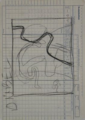 ÜBEL, Zeichnung, Graphit auf Lohnblatt, 1987