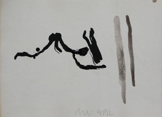 o.T., Tuschezeichnung auf Aquarellkarton, 1992
