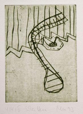 SCHATTEN, Kaltnadel auf Bütten, 1993; zu:Der Geist des Todes zeugt,