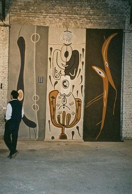 """I GIng zu ARCHA-IKON"", 1995, Asche, Russ, Kalk, Pigment auf Leinen, 320cmx 750cm"