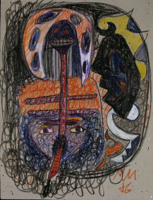 """""""Selbst"""", 1986, Fettkreide auf Achatpapier"""