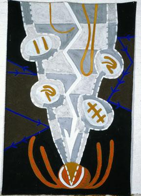 FRAU-MANN, 1993, zu: Der Geist des Todes zeugt und tötet, 1994, Asche, Russ, Kalk, Pigment auf Leinen, 160x200cm