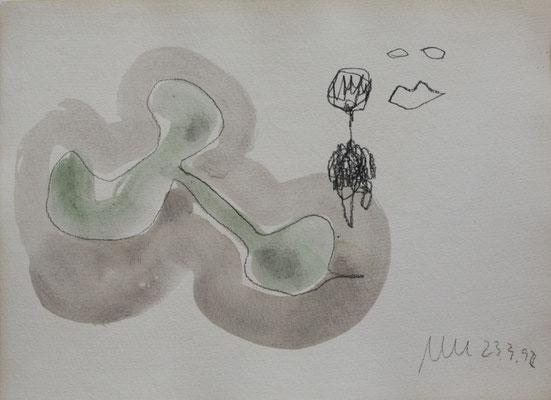 o.T., Zeichnung, 1992,  Tusche, Graphit auf Aquarellkarton