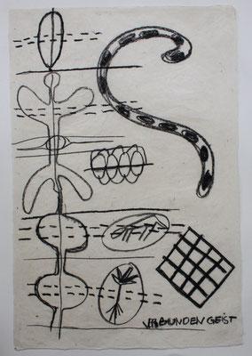 VERBUNDEN GEIST, zu: EGO-Raum+Wandlung I, 1997, Kohle, Kreide auf handgeschöpftem Papier