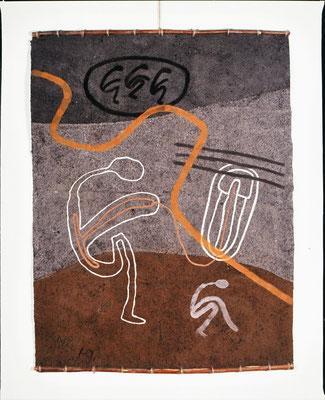 HELFER WEG II, 1990, 155x203cm, Asche, Russ, Kalk auf Pappe/Gaze