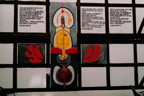 """""""WEISHEIT, zu FRAUEN DER BIBEL"""", 2005, Acryl auf Stoff"""