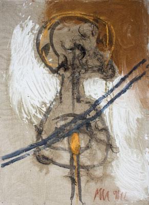 zu: Der Geist des Todes zeugt und tötet, 1991, Russ, Asche, Kohle, Kreide, Blut, Schweinsborsten, 60 x 83 cm
