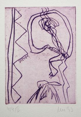 NARZISS, zu: Der Geist des Todes, 1993, Kaltnadel auf Bütten
