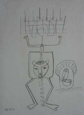 """""""Selbst"""", 1990, Graphit auf Bütten"""