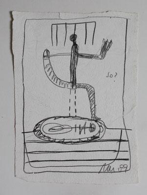 o.T., Zeichnung , Graphit auf handgeschöpftem Papier, 1989