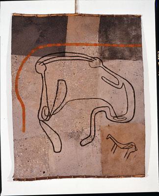 HELFER WEG III, 1990, 150x200 cm, Asche, Russ, Kalk auf Pappe/Gaze