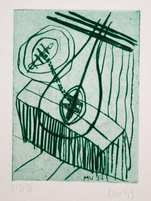 SCHATTEN, Kaltnadel auf Bütten, 1993; zu:Der Geist des Todes,