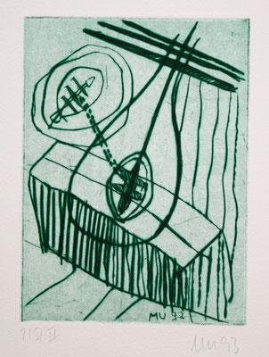SCHATTEN, zu: Der Geist des Todes, 1993, Kaltnadel auf Bütten,
