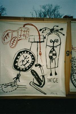 WEG, 1994, Russ, Asche auf Fensterrollo/Plastik