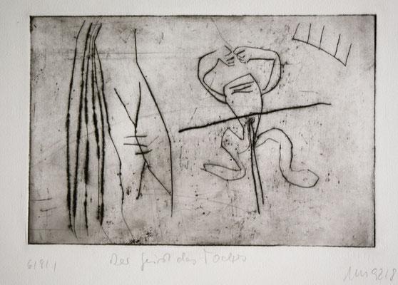 zu: Der Geist des Todes, 1992, Kaltnadel auf Bütten, 30 x 20 cm