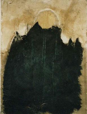 zu:Der Geist des Tides zeuft und tötet, Russ, Wandfüllung, Blut auf Buchbinderleinen, 60x70 cm
