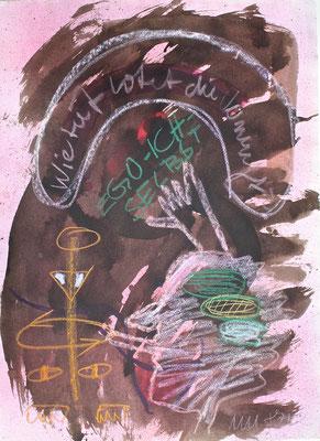 Monika Maria Nowak bei EIGEN+ART, 1987, Wie tief lotet die Vernunft?, Zeichnung: Tusche, Kreide auf Bütten