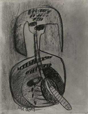 """""""Selbst"""", 1987, Fettkreide auf Achatpapier"""