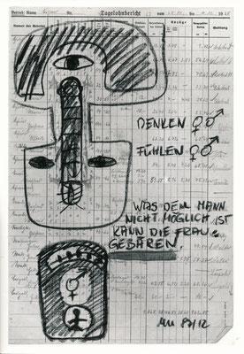 """""""Mitteilung für..."""", 1987, Kohle auf Arbeitspapier"""