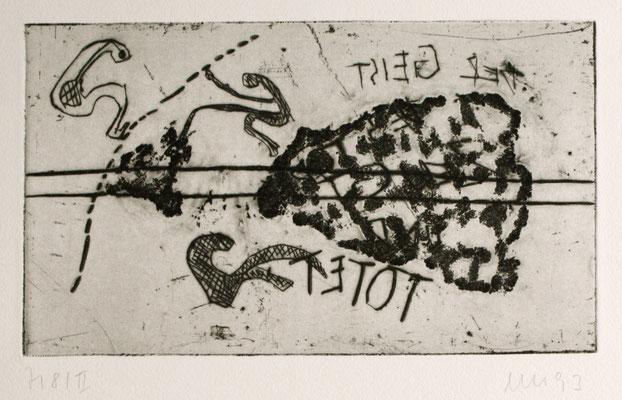 zu: Der Geist des Todes zeugt und tötet, 1992, Kaltnadel auf Bütten
