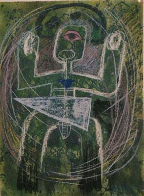 Monika Maria Nowak bei EIGEN+ART, 1987, Innere Kraft, Zeichnung: Kreide, Tusche auf Bütten