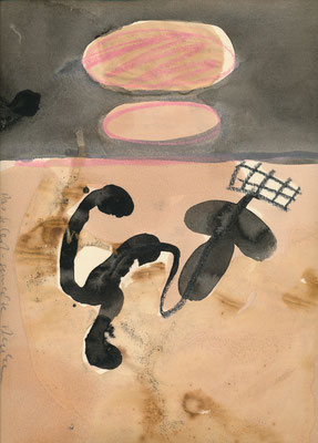 Das selbstgemachte Denken, zu: Denken und Fühlen, Kreide, Tusche auf Achatpapier, 1991