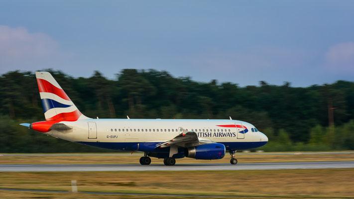 """Startbahn West / """"Affenfelsen"""" - G-EUPJ beim Beschleunigen (Airbus A319-131 // British Airways)"""