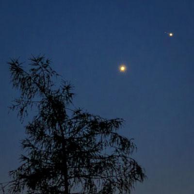 Nochmal ein Bildauschnitt. Die Monde von Jupiter sind gut sichtbar