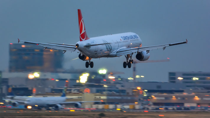 """Südbahn / """"Affenfelsen"""" - TC-JRD kurz vor der Landung im abendlichen Lichtermeer (Airbus A321-231 // Turkish Airlines)"""
